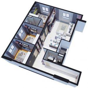 Thiết kế Căn hộ 3 phòng ngủ Tara Residence