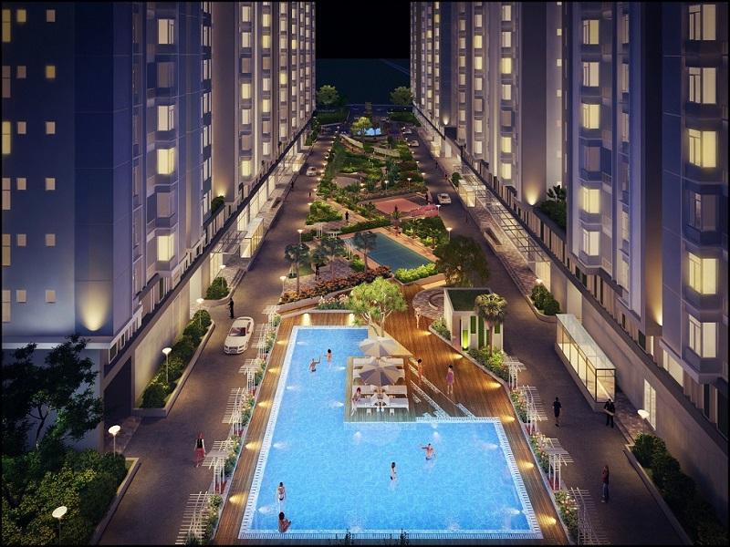 Hồ bơi tràn căn hộ Him Lam Phú An sử dụng lọc nước ion rất tốt cho sức khỏe cho gia đình bạn