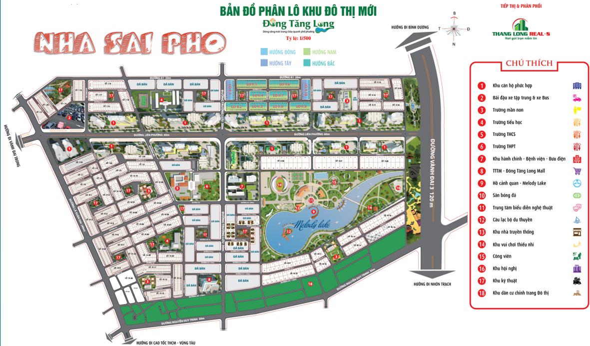 Bảng đồ phân lô dự án Đông Tăng Long