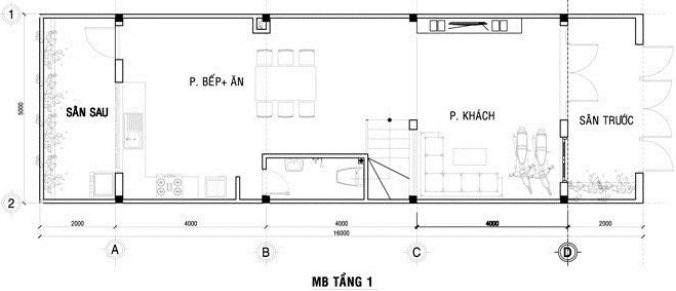 Tầng 1 Mẫu thiết kế nhà ống 3 tàng diện tích 4x12