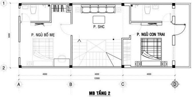Tầng 2 Mẫu thiết kế nhà ống 3 tàng diện tích 4x12