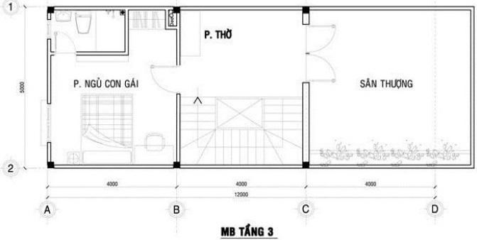 Tầng 3 Mẫu thiết kế nhà ống 3 tàng diện tích 4x12