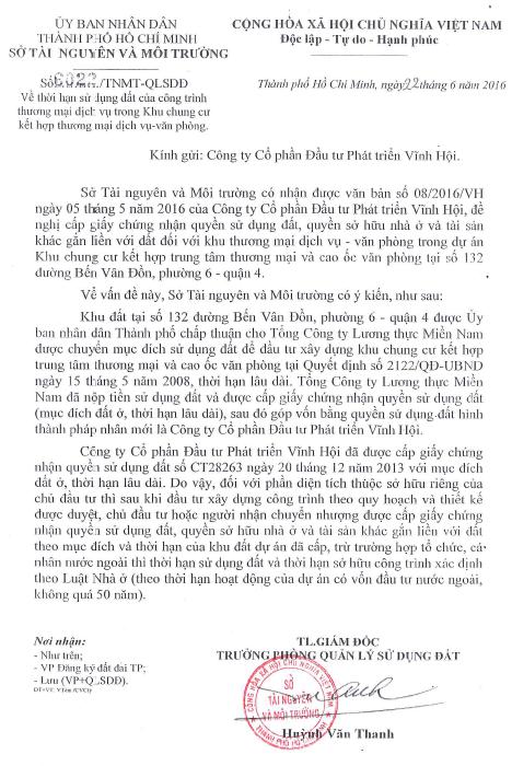 Giấy xác nhận pháp lý sở hữu vĩnh viễn Officetel Millennium từ Sở Tài Nguyên và Môi Trường