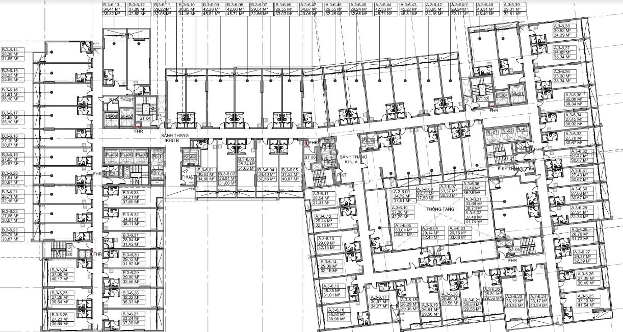 Mặt bằng tầng 3-5 Officetel Millennium Bến Vân Đồn Quận 4
