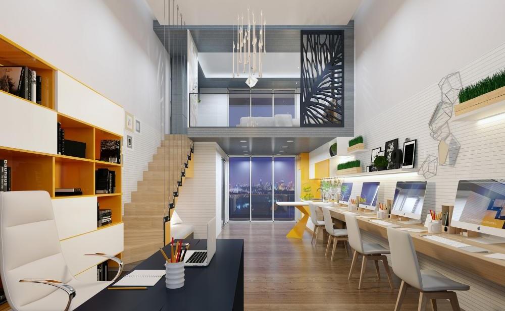 Nhà mẫu Officetel Millennium tầng 6 với trần cao 5m có thể làm 1 trệt 1 lửng tăng gấp đôi diện tích sử dụng