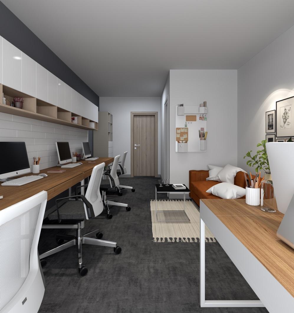 View từ ban công vào thiết kế chuyên về văn phòng làm việc Officetel Millennium