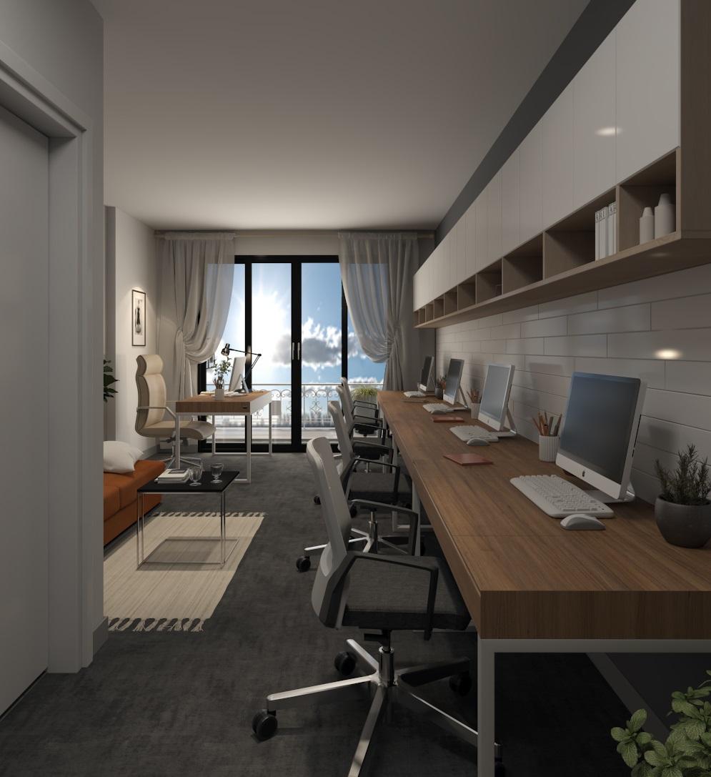 View từ cửa chính vào thiết kế chuyên về văn phòng làm việc Officetel Millennium