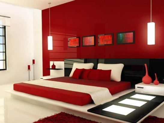Màu đỏ cho căn phòng thêm ấm cúng