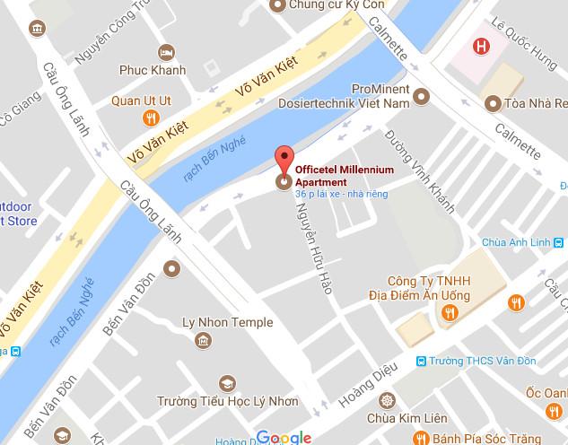 Vị trí Officetel Millennium cực kỳ đắc địa ở đường Bến Vân Đồn Quận 4