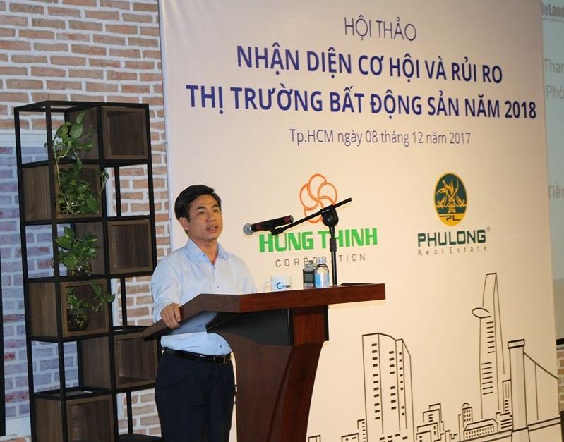 Ông Nguyễn Mạnh Khởi, Phó Cục trưởng Cục quản lý nhà và Thị trường bất động sản, Bộ Xây dựng phát biểu tại hội thảo.