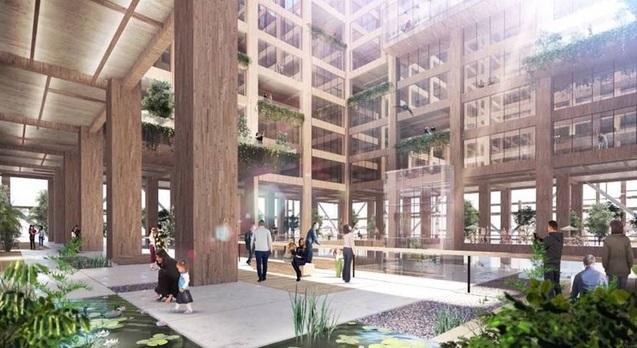 """ng ty này cho biết mục đích của W350 là trở thành công trình kiến trúc sử dụng gỗ, thân thiện với môi trường. """"Cấu trúc ống đỡ"""" sẽ giúp tòa nhà không biến dạng trước động đất và gió."""