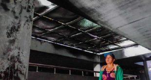 Bên trong chung cư Carina sau vụ cháy.