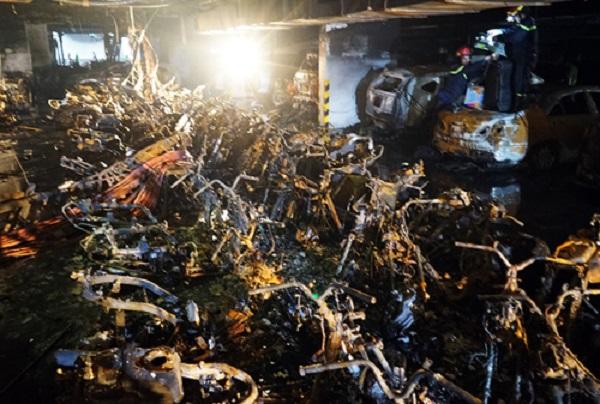 Vụ cháy chung cư Carina khiến 13 người chết, 13 ôtô và 150 xe máy bị cháy rụi.