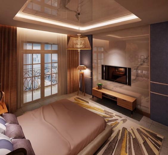 Phối cảnh phòng ngủ chính tầng 1 dự án nhà phố Bến Bình Đông
