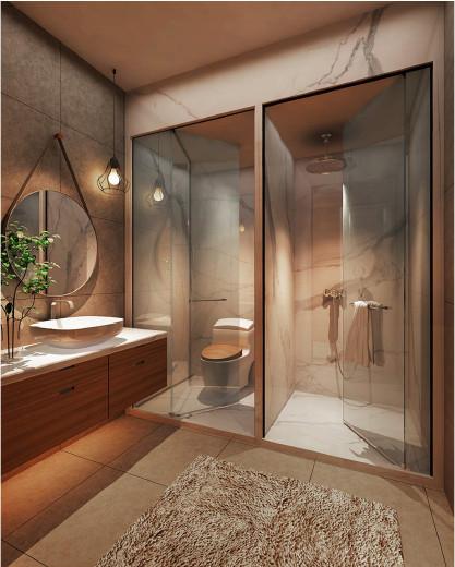 Phối cảnh phòng tắm và WC cao cấp