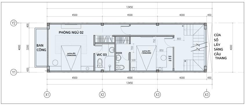 Thiết kế tầng 2 nhà phố đường Bến Bình Đông