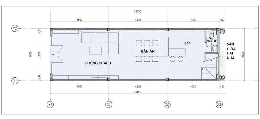 Thiết kế mặt bằng tầng trệt nhà phố đường Bến Bình Đông, Quận 8