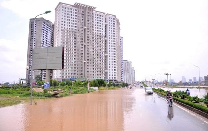 Trận mưa lớn vừa qua tại Hà Nội khiến nhiều khu đô thị bị ngập úng
