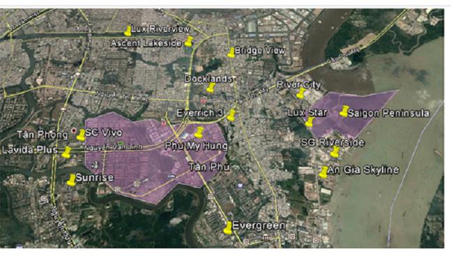 Bản đồ các dự án bất động sản tại quận 7