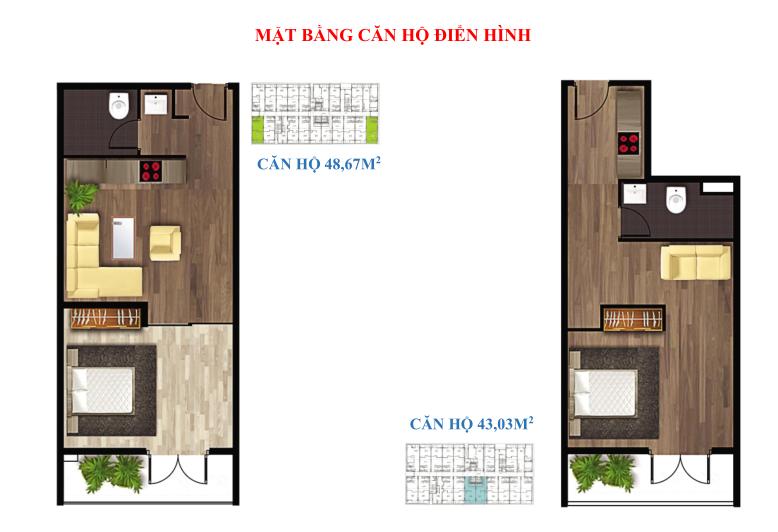 Cách bố trí căn hộ 1 PN 1WC giá rẻ dự án The Western Capital quận 6