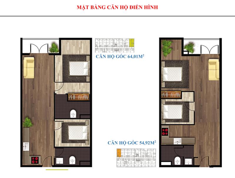 Cách bố trí căn hộ 2 PN 2 WC giá rẻ dự án The Western Capital quận 6