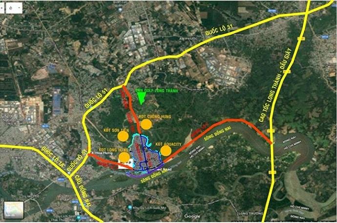 Bản đồ vị ví dự án Dong Nai Waterfront City (khoảng màu xanh nhạt)