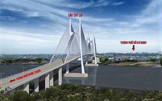 Cầu Cát Lái nối Quận 2 (TP.HCM) với huyện Nhơn Trạch (tỉnh Đồng Nai)