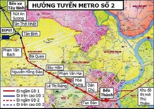 Hướng tuyến Metro số 2