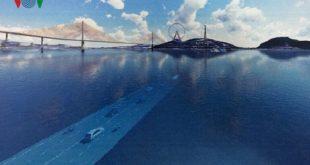 Phối cảnh minh họa dự án hầm đường bộ vượt biển qua vịnh Cửa Lục. Ảnh: VOV