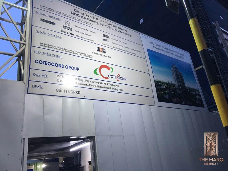 Bảng thông báo các thông tin liên quan đến nhà thầu thi công và thiết kế
