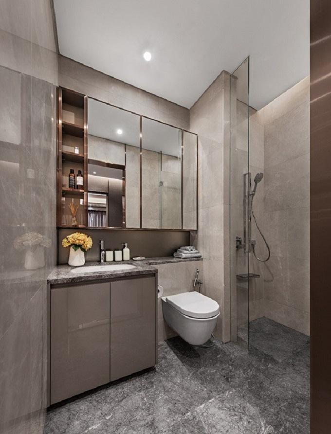 Phòng tắm của căn hộ mẫu một phòng ngủ.