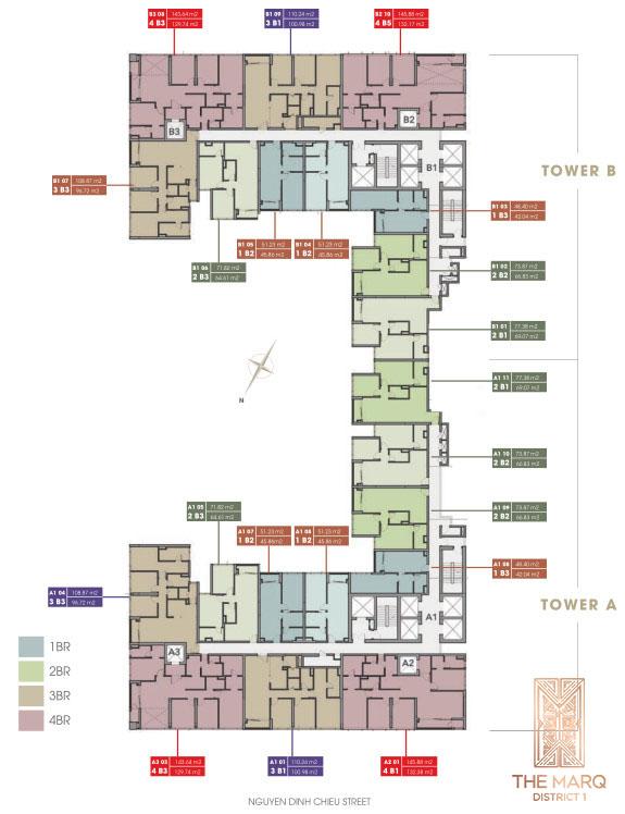 Mặt bằng tầng 4-22 (số chẵn) dự án The MarQ