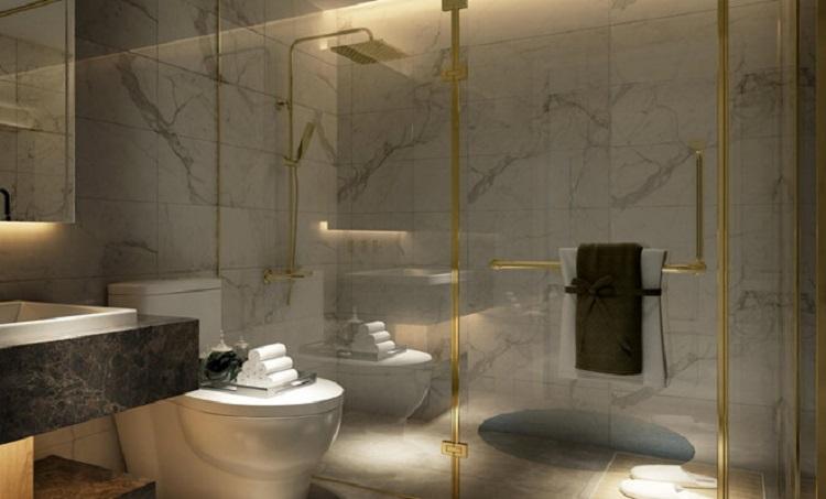 Khu vực nhà tắm xử dụng các phụ kiện Axor mạ chrome cao cấp
