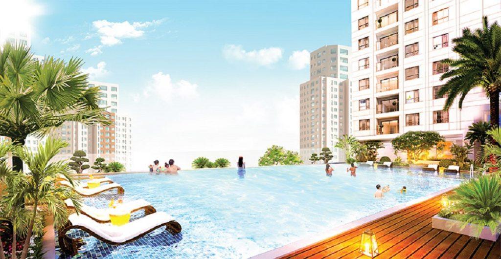 Hồ bơi tràn sử dụng công nghệ điện phân đồng đầu tiên ở Việt Nam, giúp khử trùng, khử mùi và không gây kích ứng da.