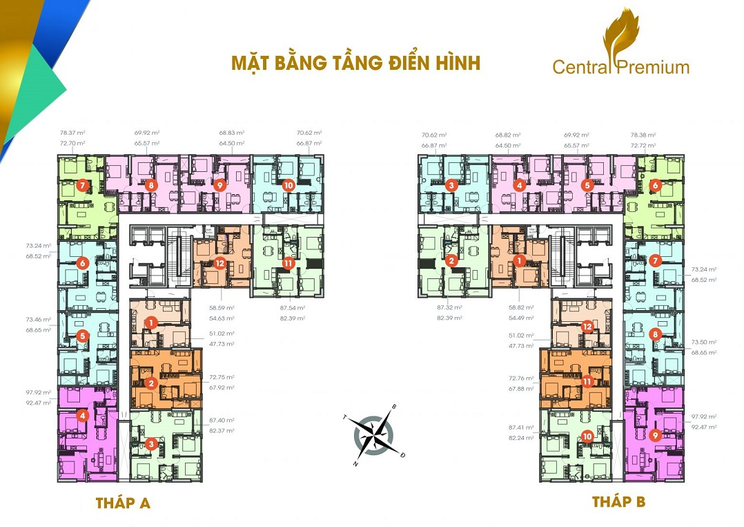 Mặt bằng căn hộ tầng 18 đến 25 dự án căn hộ Central Premium