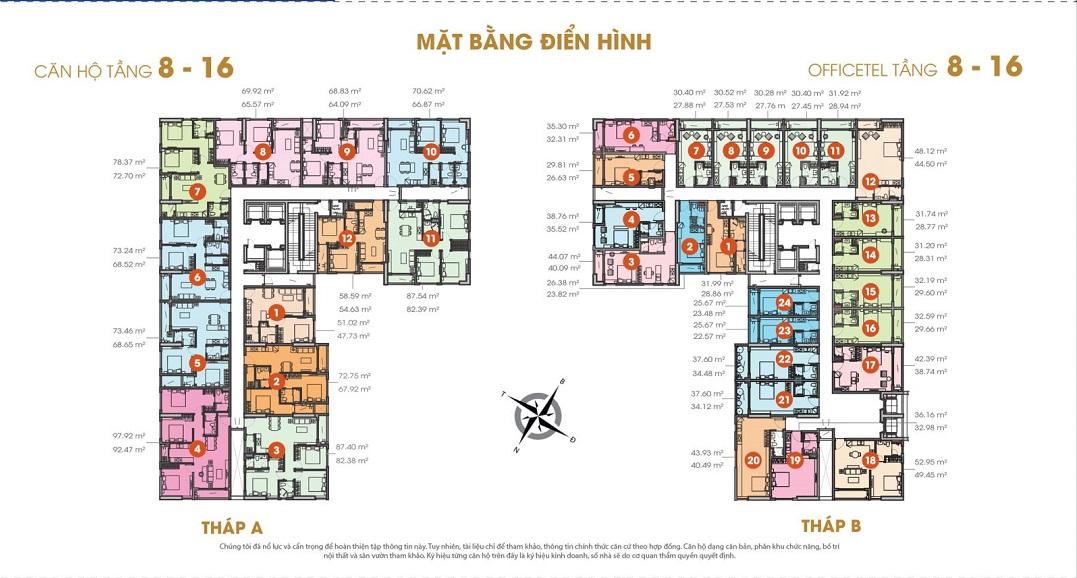 Mặt bằng căn hộ tầng 8 đến 16 dự án căn hộ Central Premium