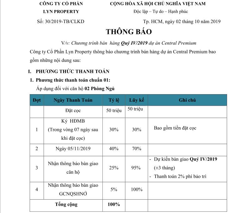 Phương thức thanh tóan 1 dự án Central Premium tháng 10-2019