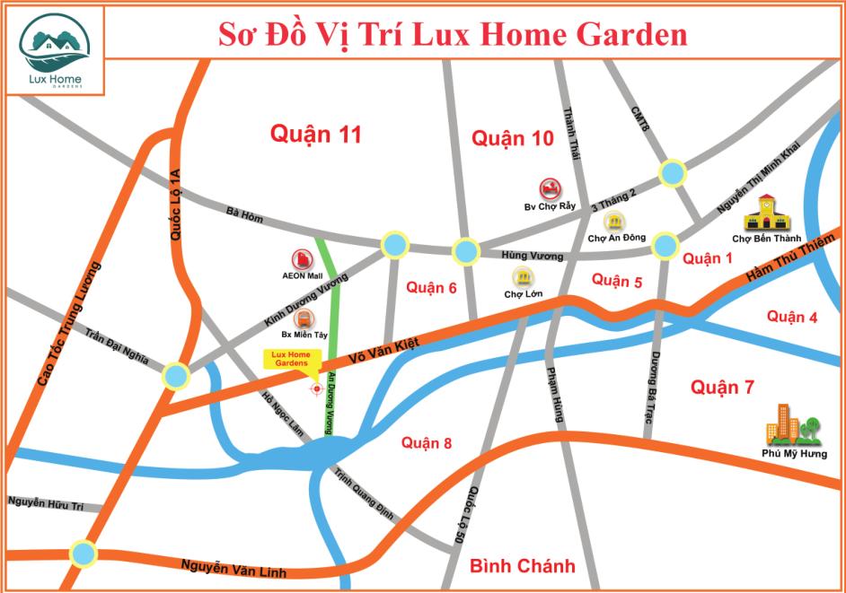 Vị trí Lux Home Garden mặt tiền An Dương Vương Quận Bình Tân