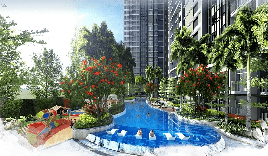 Tiện ích nội khu dự án Celesta Rise hồ bơi phong cách nghĩ dưỡng dài 50m