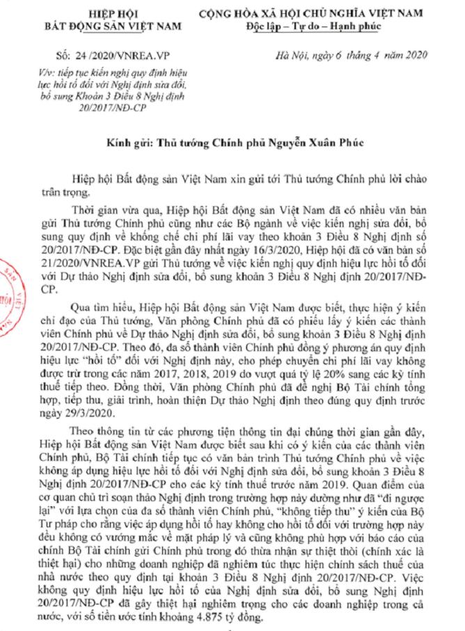 Công văn Hiệp hội Bất động sản Việt Nam gửi Thủ tướng Chính phủ mới đây