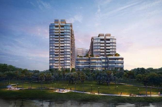 Ảnh phối cảnh dự án căn hộ cao cấp The River Thu Thiem bao quanh bởi cây xanh và mặt nước tạo không gian trong lành, mát mẻ.