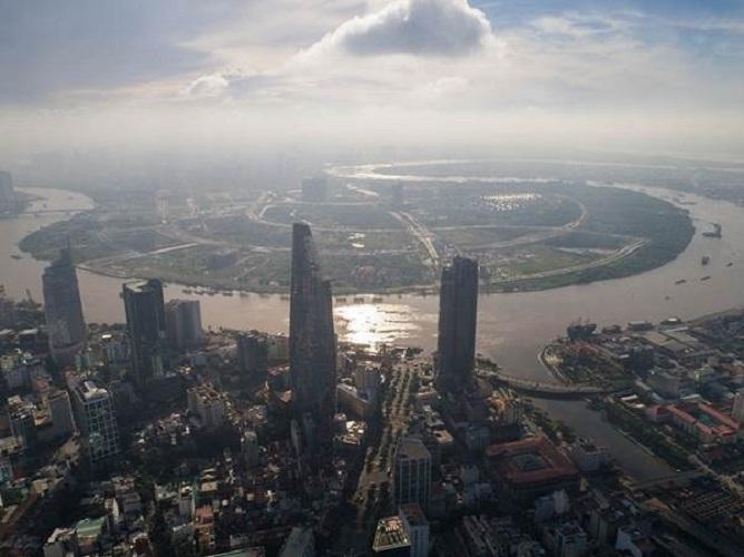 Khu vực Thủ Thiêm TP HCM được bao quanh bởi con sông Sài Gòn.