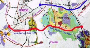 Vị trí cao tốc Bến Lức - Long Thành trên bản đồ, nối từ Long An qua TP HCM tới Đồng Nai. Ảnh: Chinhphu