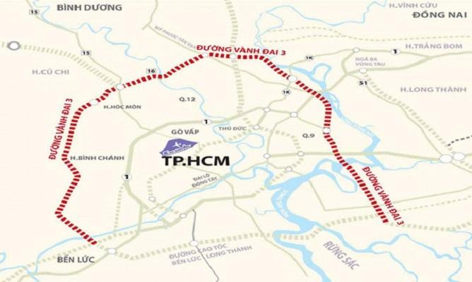 Tuyến Vành đai 3 TP.HCM dài 91,66 km, đi qua Long An, Bình Dương, Đồng Nai và TP.HCM.
